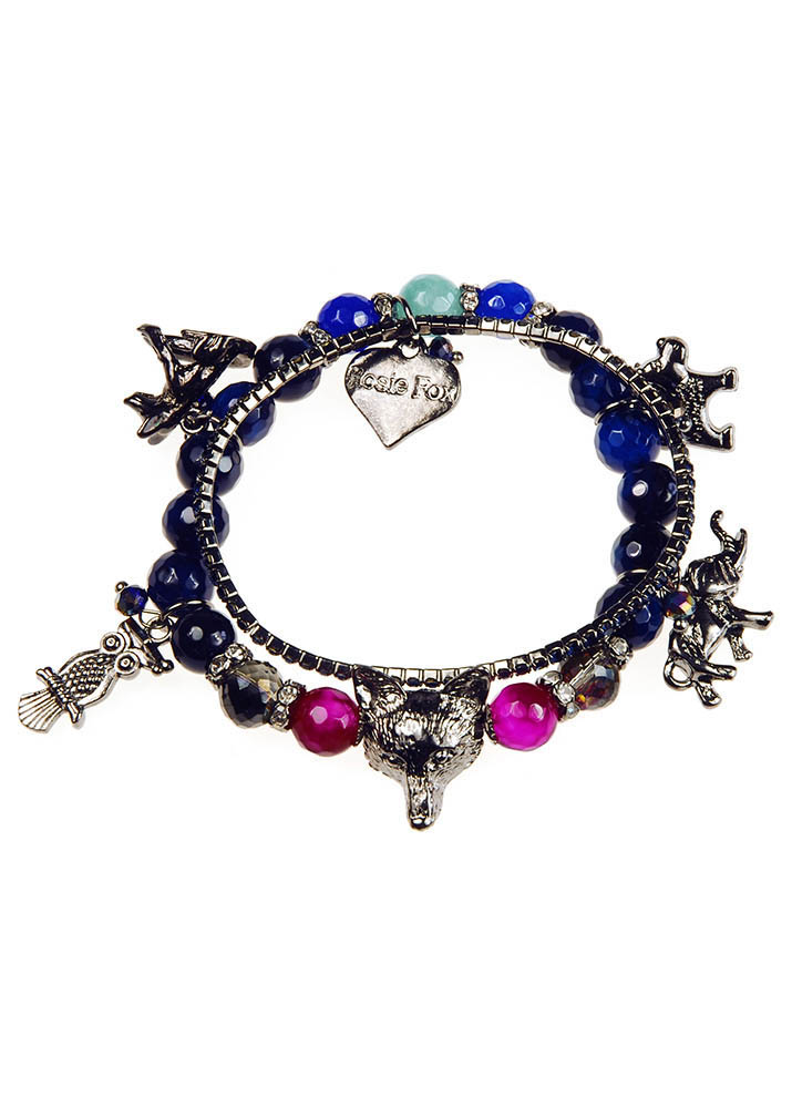 Midnight Agate Charm Gemstone Bracelet