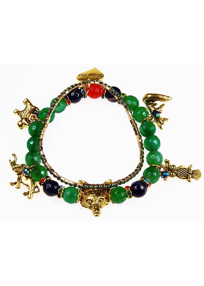 Emerald Agate Charm Gemstone Bracelet