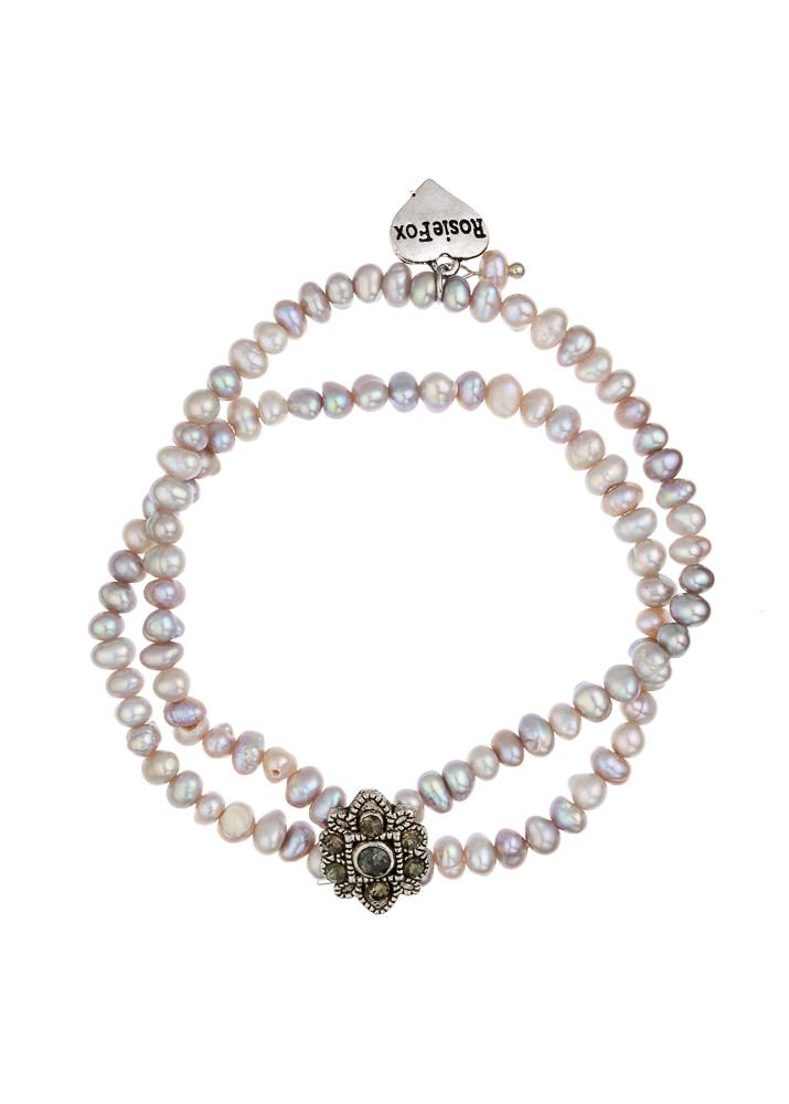 Freshwater Grey Pearl & Crystal Cuff