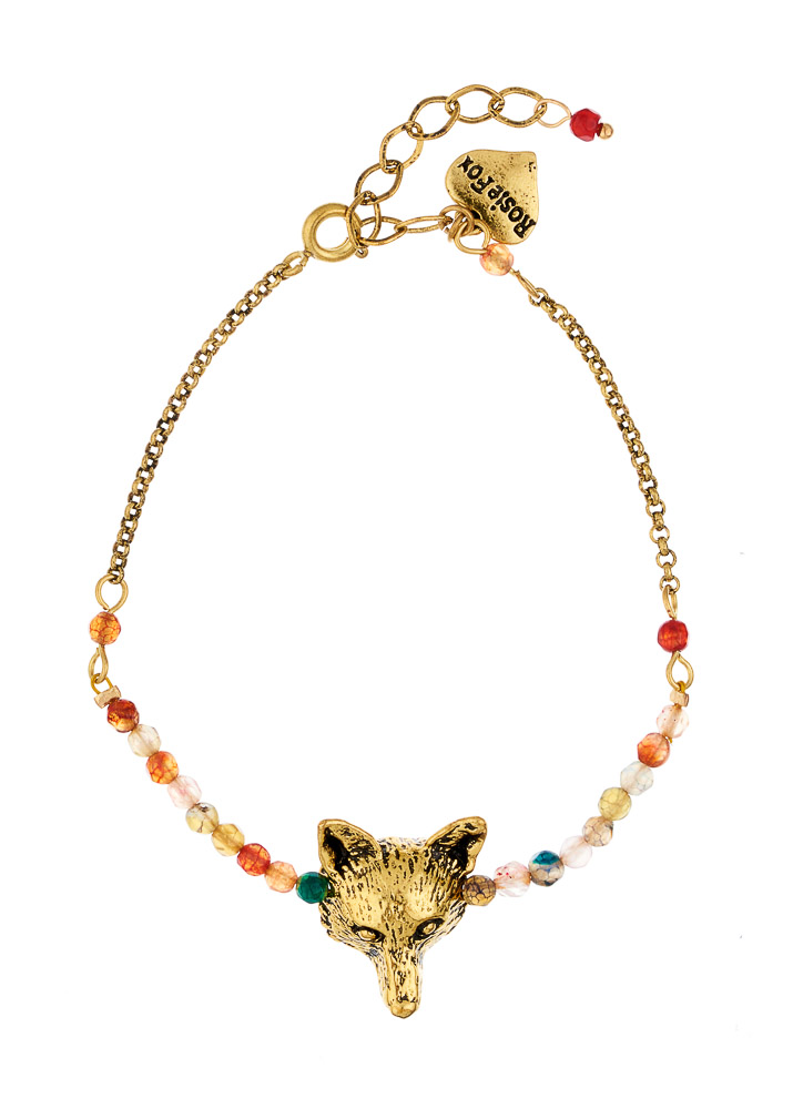 Ruby Rainbow Agate Fox Chain Bracelet