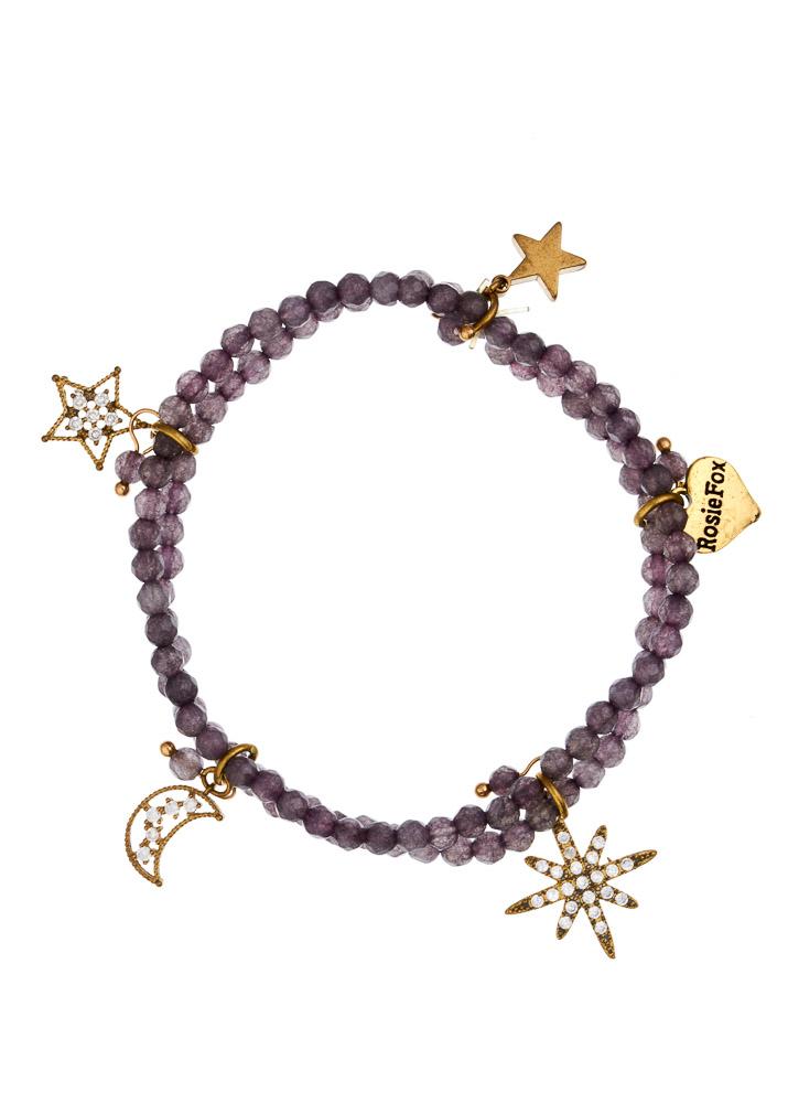 Dove Agate Star Charm Bracelet