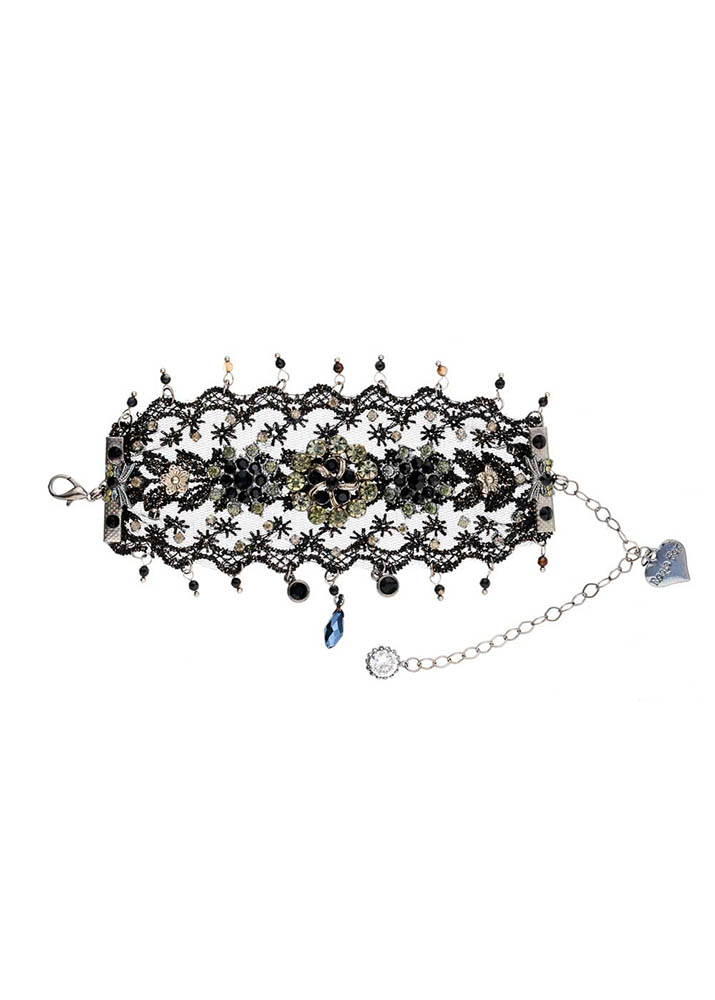 Cafe Noir Pewter & Lace Cuff