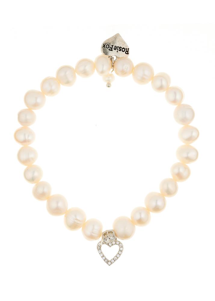 Ivory Freshwater Pearl & Crystal Heart Bracelet