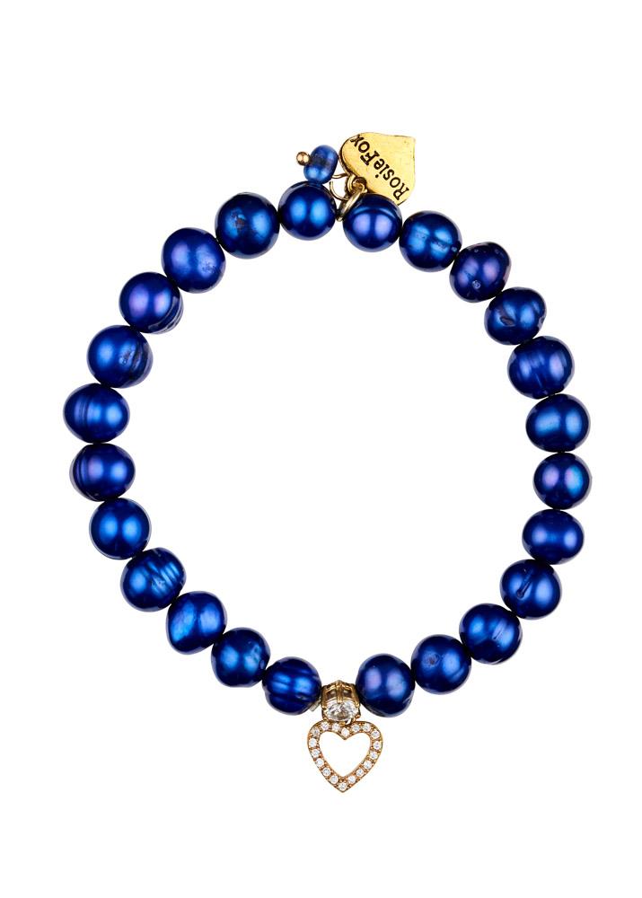 Cobalt Blue Freshwater Pearl & Heart Bracelet