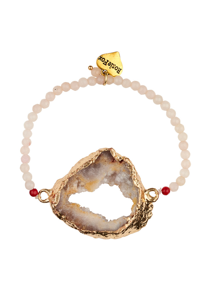 Ruby Rose Agate Crystal Bracelet