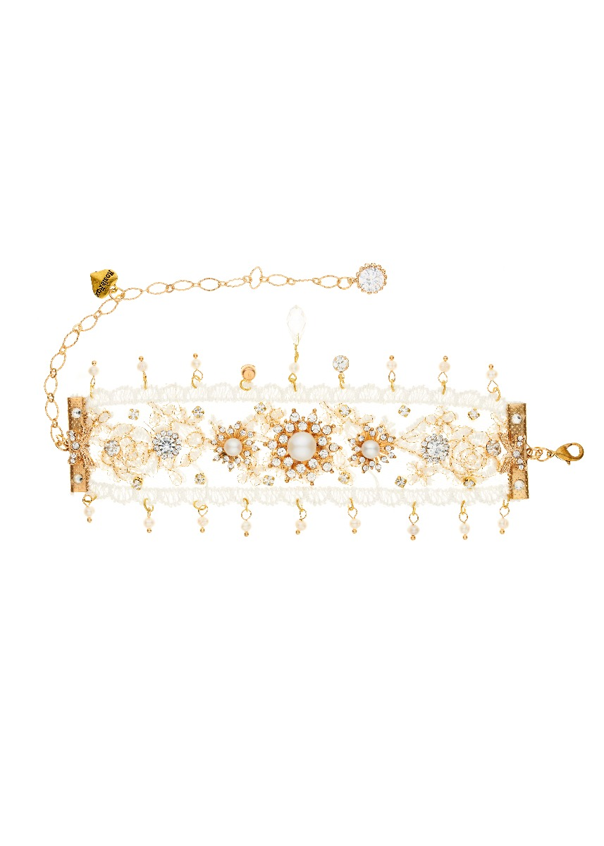 Gold Lace Freshwater Pearl Bracelet