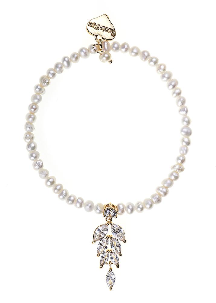 Ivory Freshwater Pearl & Crystal Leaf Bracelet
