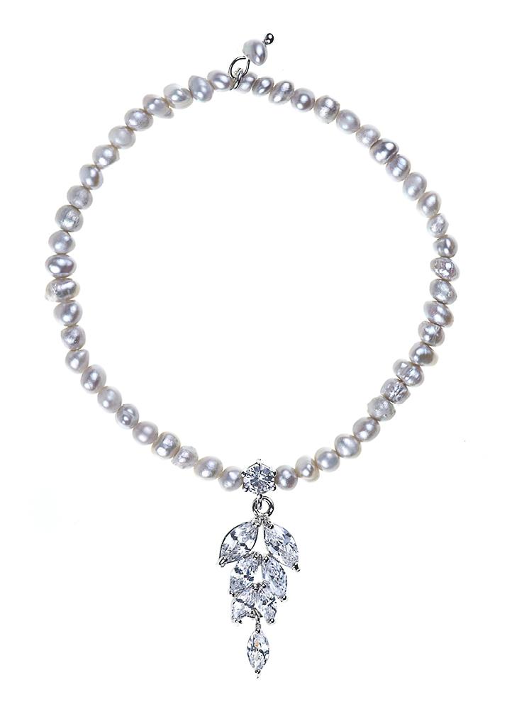 Grey Freshwater Pearl & Crystal Leaf Bracelet
