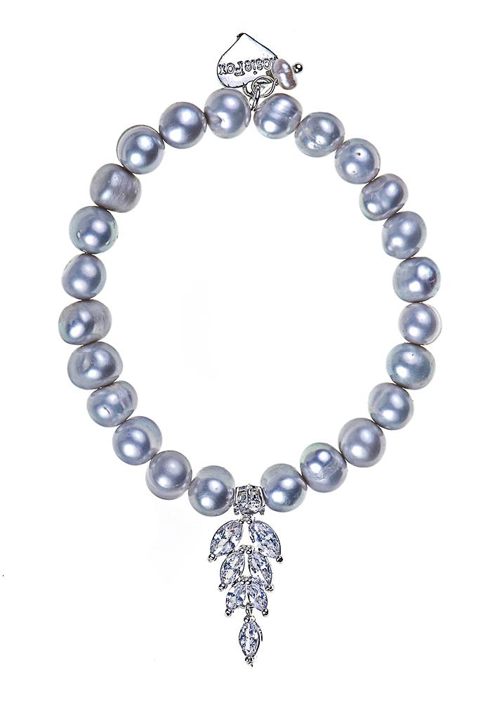 Grey Freshwater Pearl Diva Crystal Leaf Bracelet