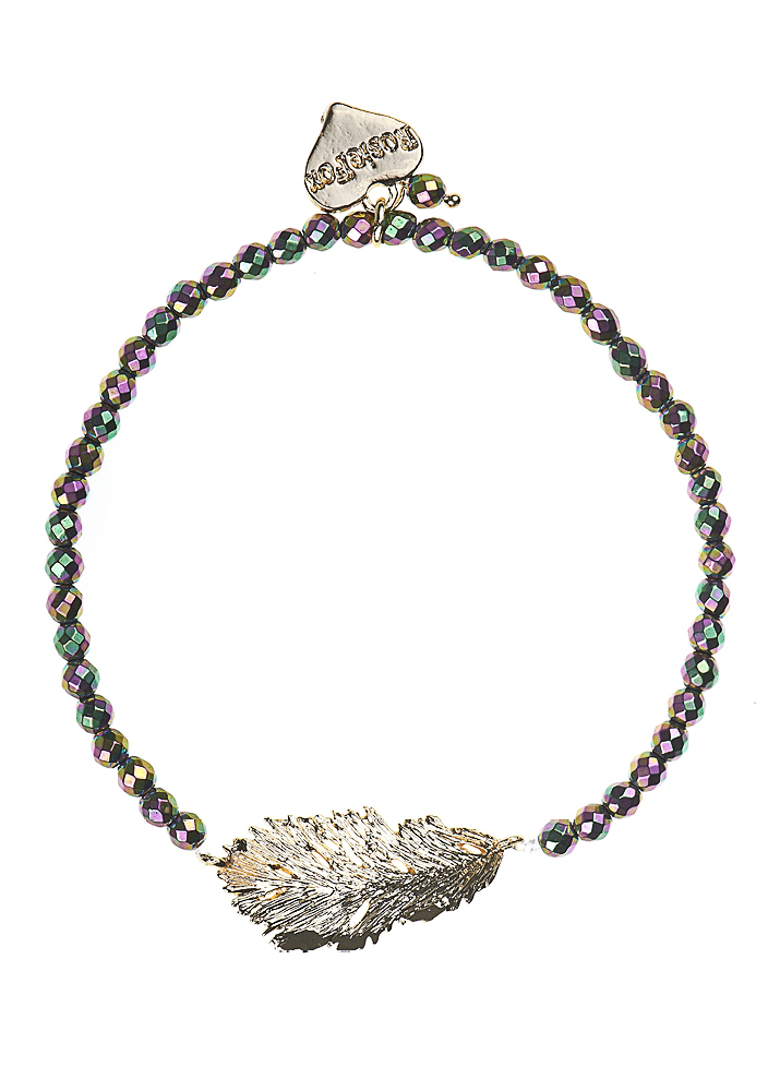 Blush Pyrite Lucky Feather Bracelet