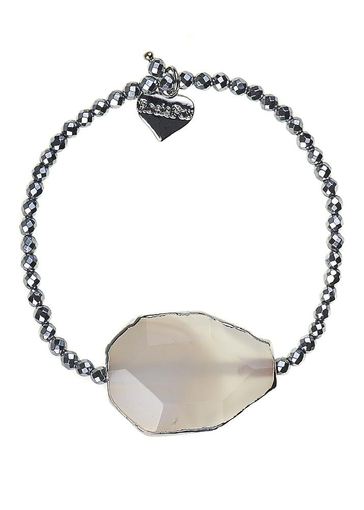 Silver Hematite & Agate Bracelet