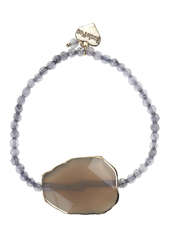 Agate Slice Grey Dove Bracelet