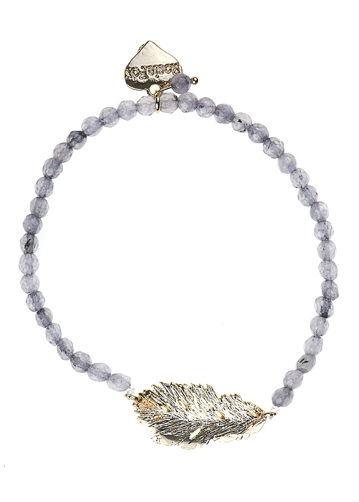 Dove Agate Lucky Feather Bracelet