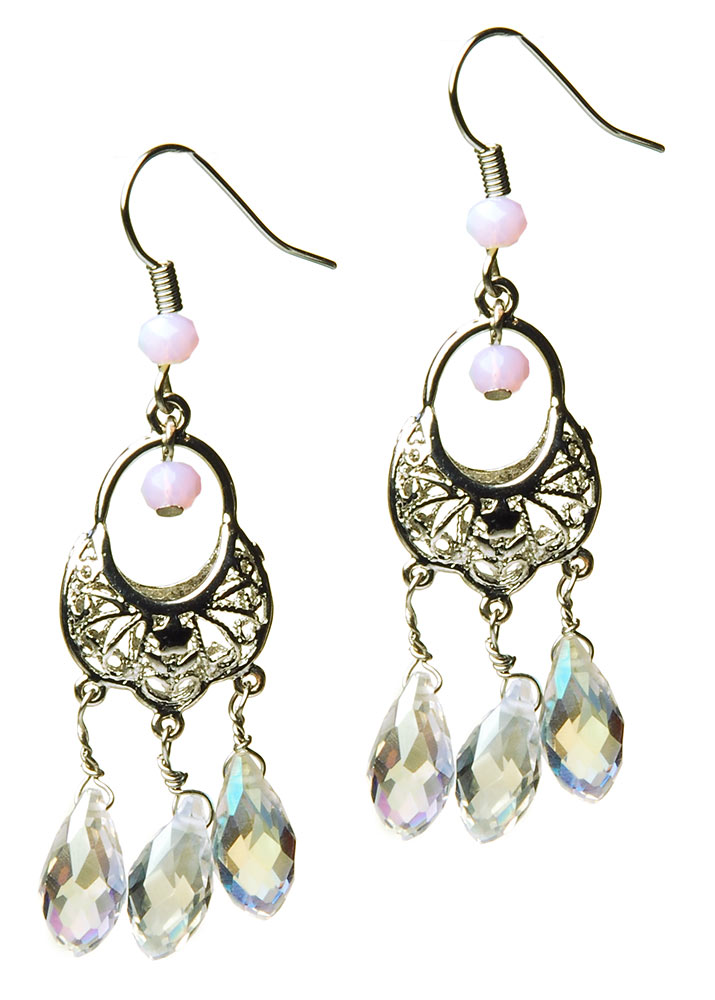 Vintage Silver Crystal Earrings