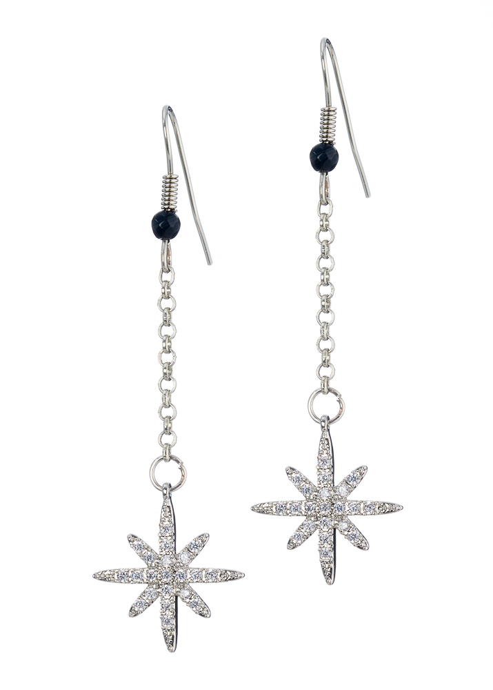Cafe Noir Agate Star Chain Earrings