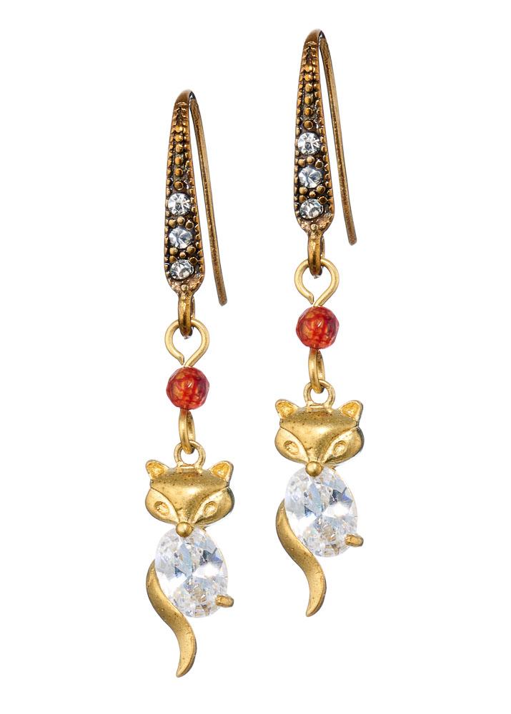 Ruby Crystal Fox Earrings