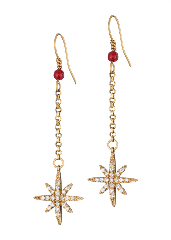 Ruby Agate Star Chain Earrings