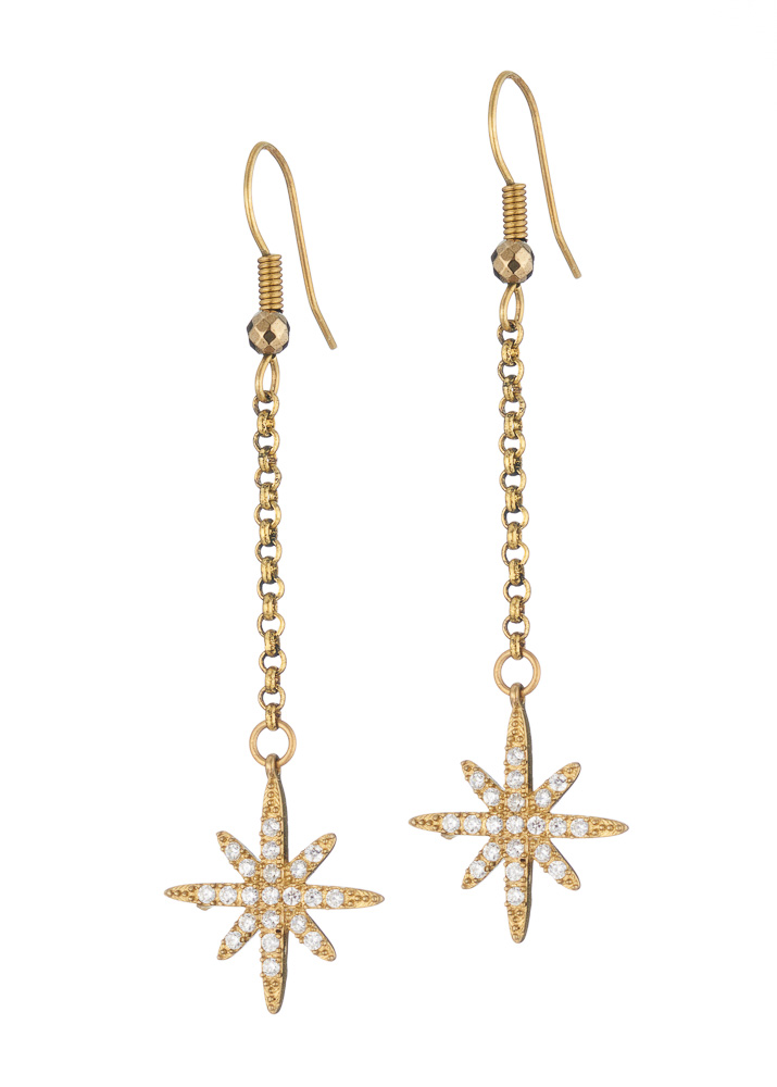Pyrite Star Chain Earrings