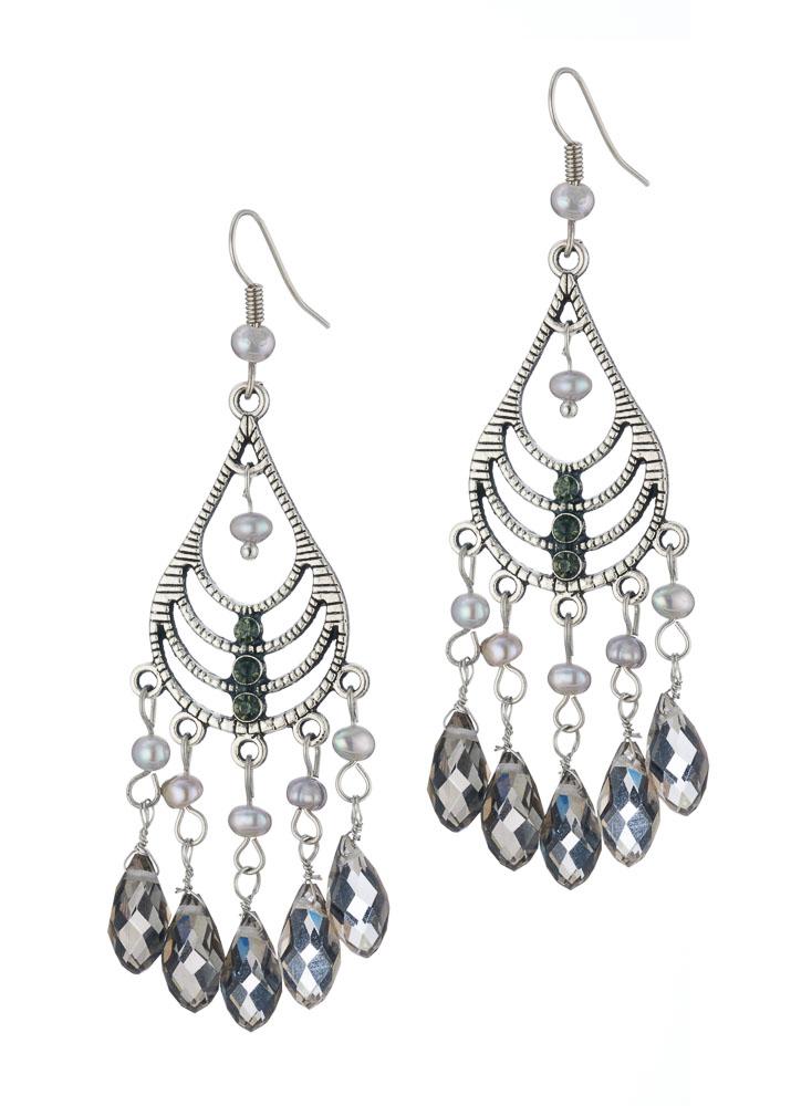 Freshwater Grey Pearl Chandalier Earrings