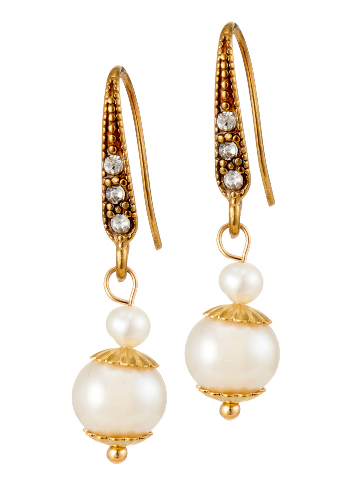 Ivory Freshwater Pearl & Gold Earrings