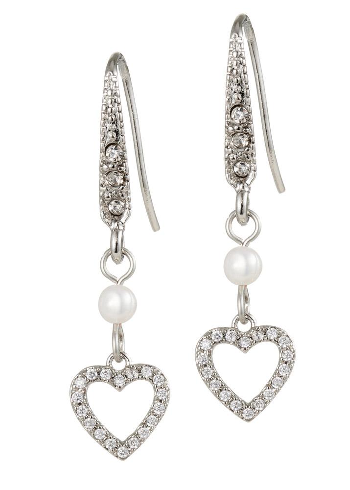 Ivory Freshwater Pearl Crystal Heart Earrings