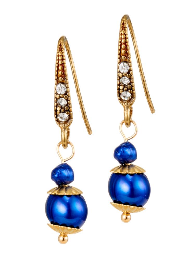 Cobalt Blue Freshwater Pearl Earrings
