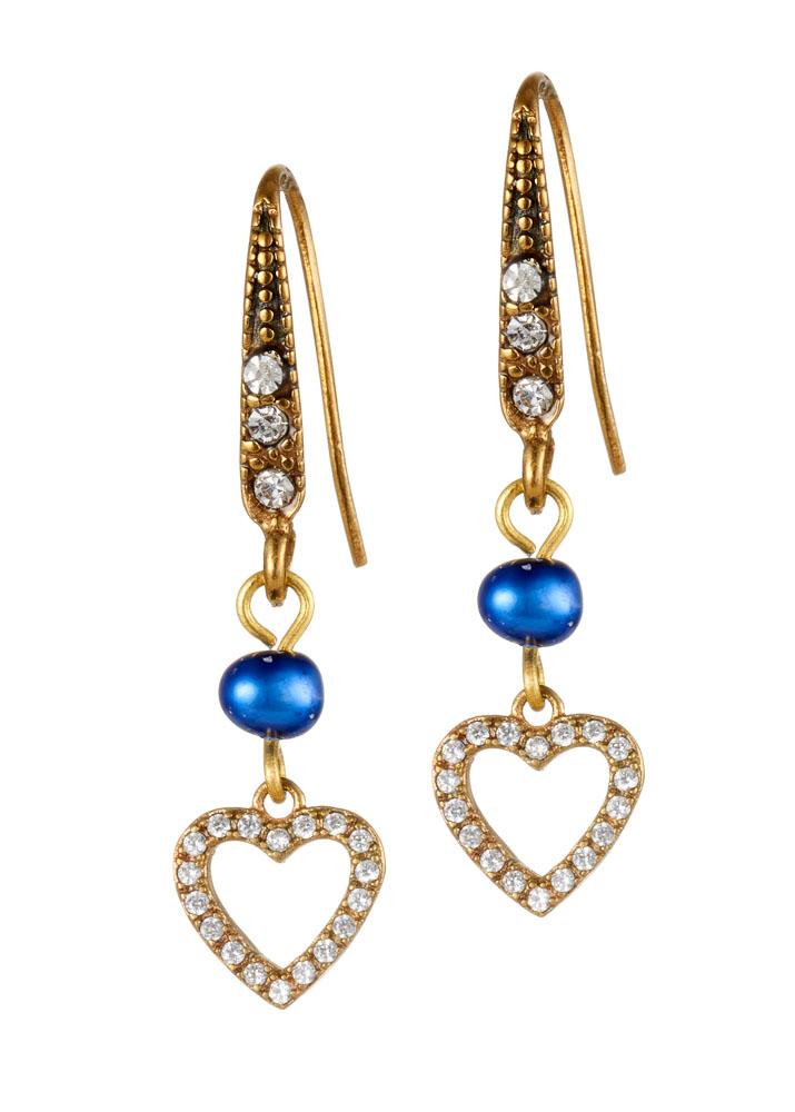 Cobalt Blue Freshwater Pearl Crystal Heart Earrings