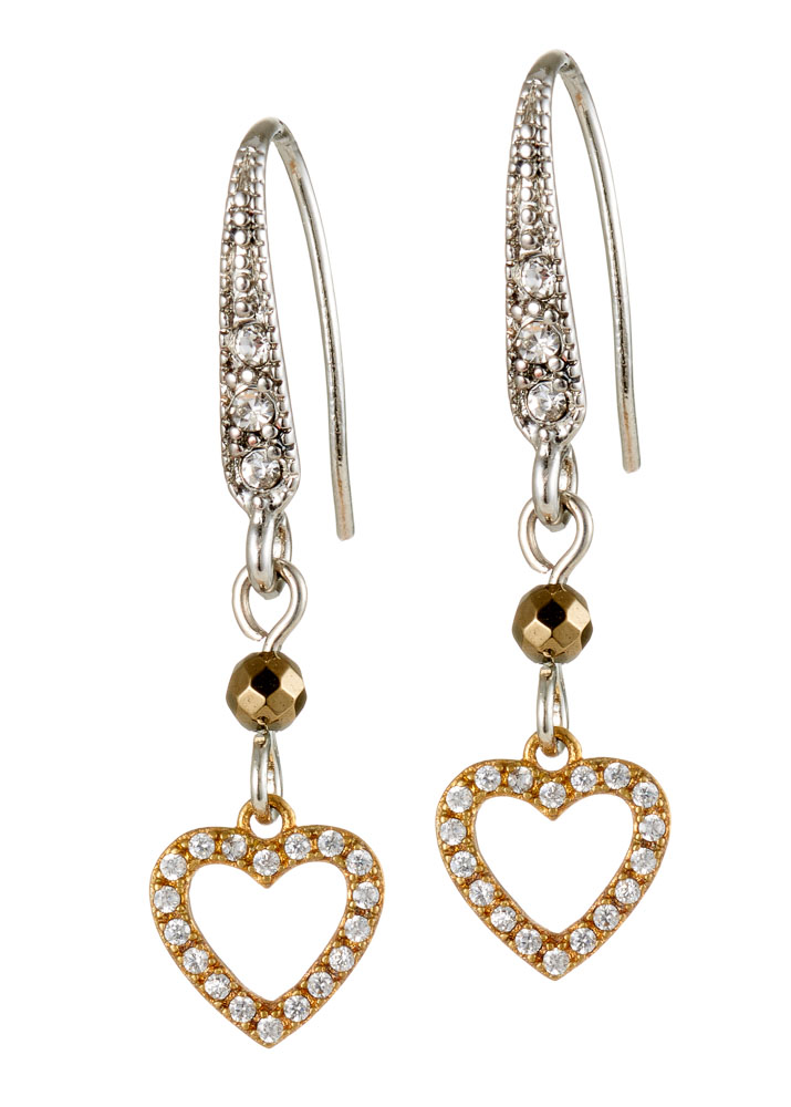 Pyrite & Crystal Heart Earrings