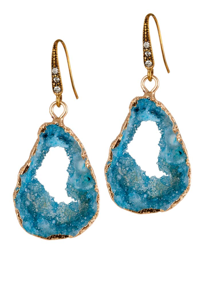 Sky Agate Crystal Earrings