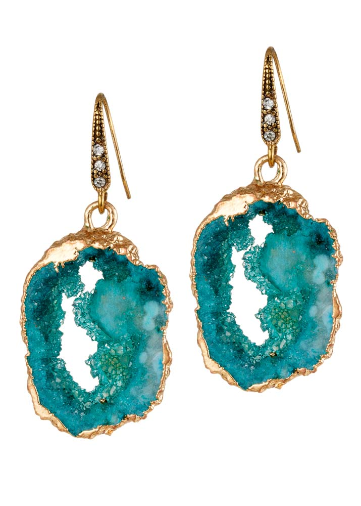Amazonite Agate Crystal Earrings