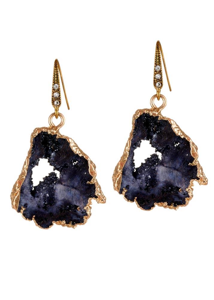 Charcoal Agate Crystal Earrings