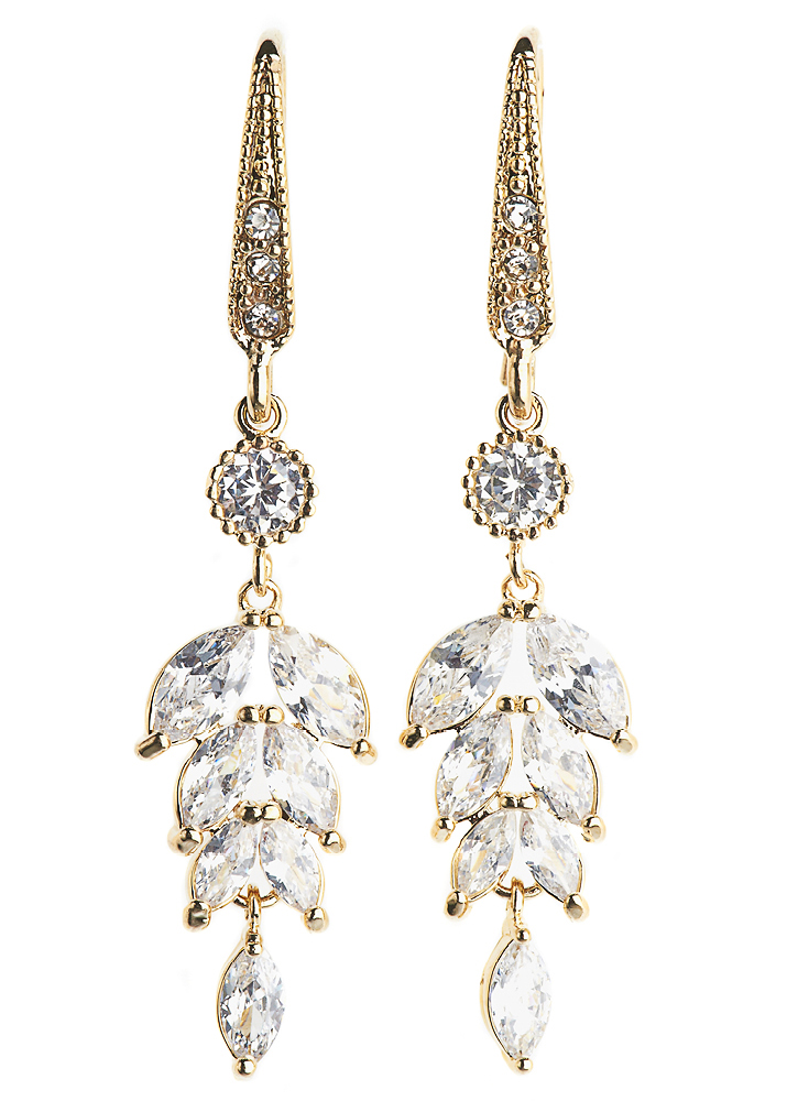 Gold Crystal Leaf Earrings
