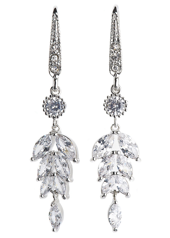 Silver Crystal Leaf Earrings