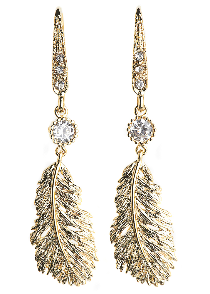 Gold Lucky Feather Earrings