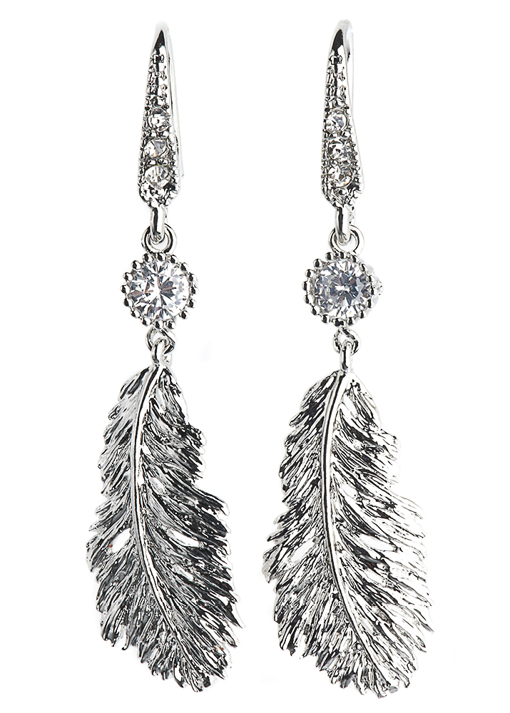Silver Lucky Feather Crystal Earrings