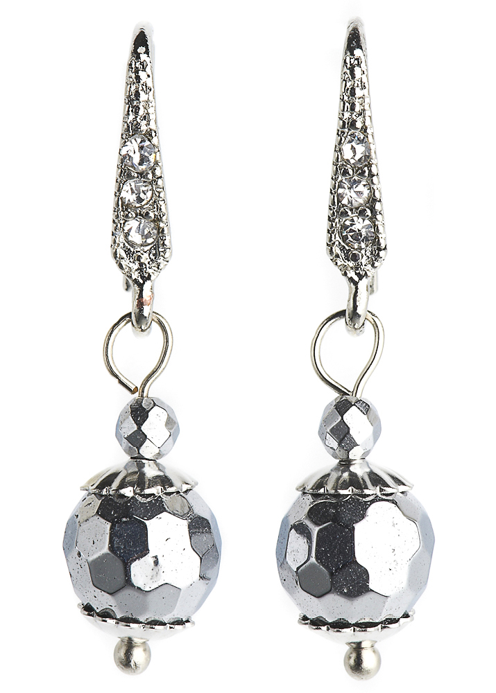 Silver Hematite Ball Earrings