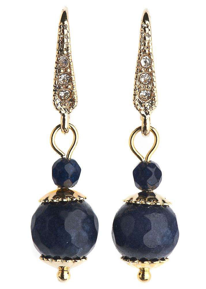 Royal Navy Agate Ball Earrings