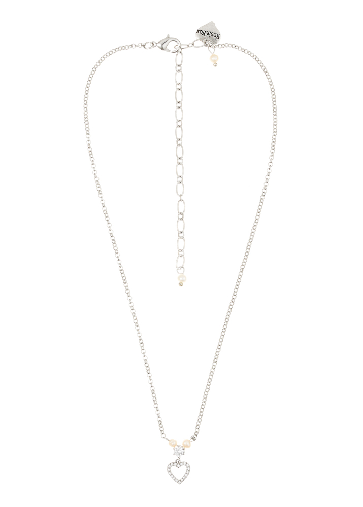 Ivory Freshwater Pearl Crystal Heart Chain Necklace
