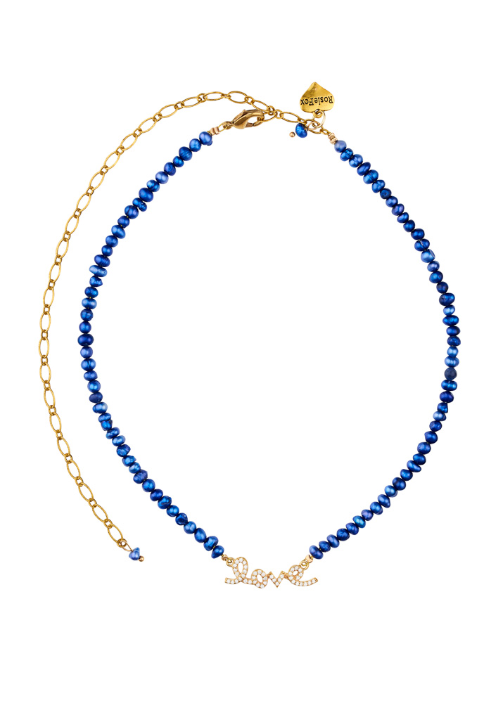 Cobalt Blue Freshwater Pearl Love Necklace