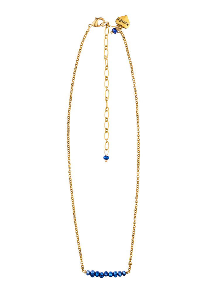 Cobalt Blue Freshwater Pearl Bar Necklace