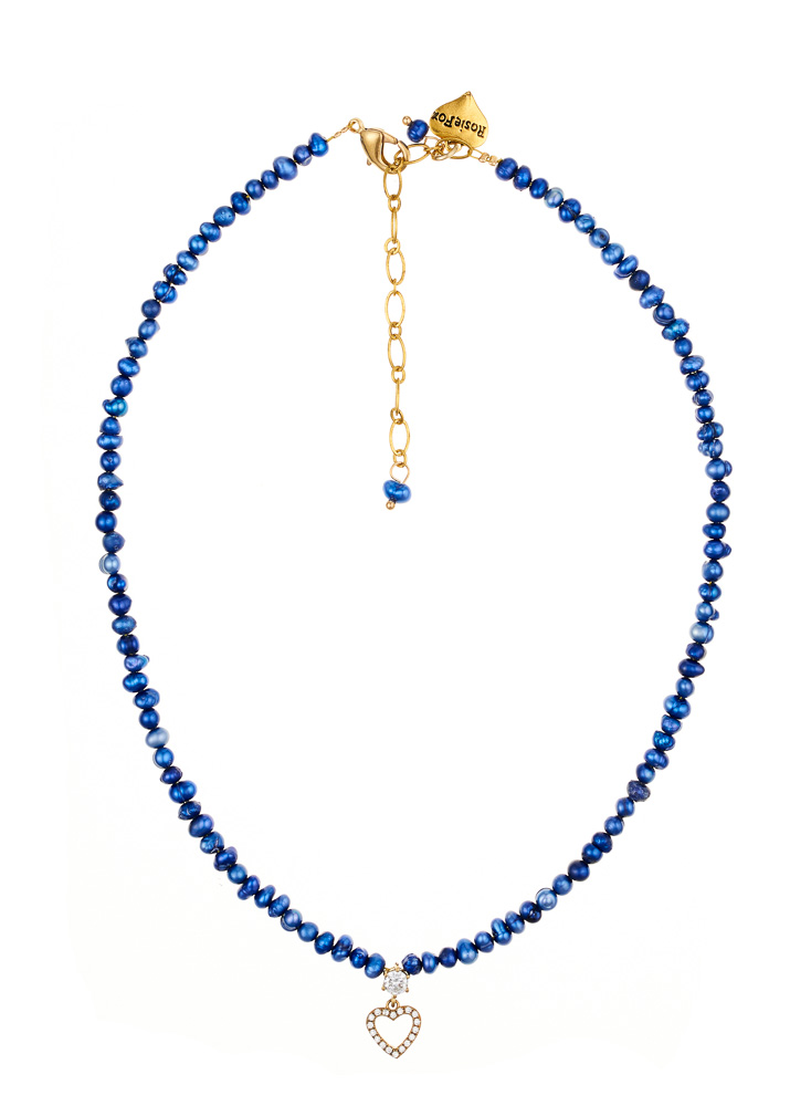 Cobalt Blue Freshwater Pearl Heart Necklace