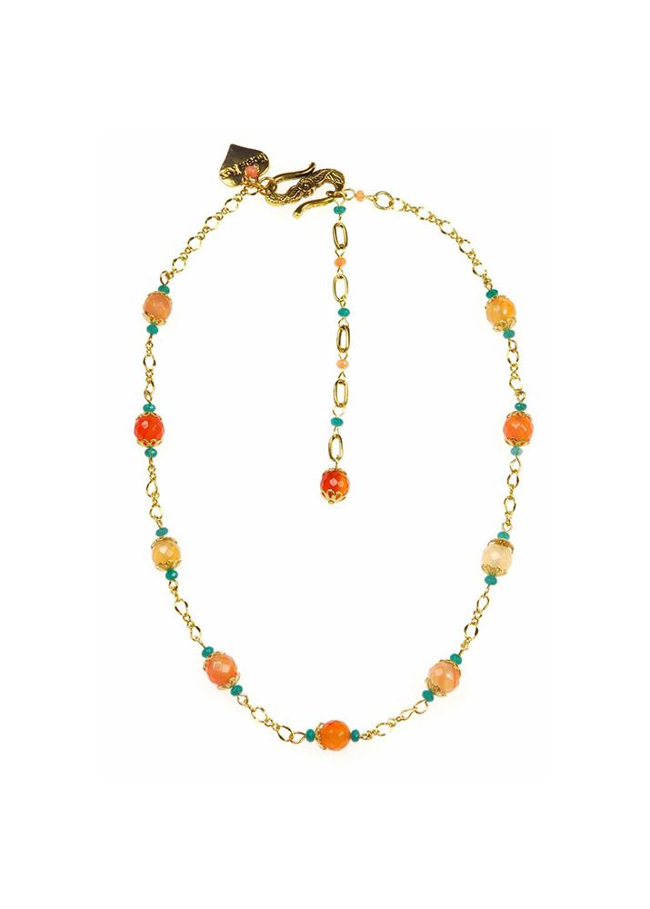 Peach Blossom Agate Chain Necklace