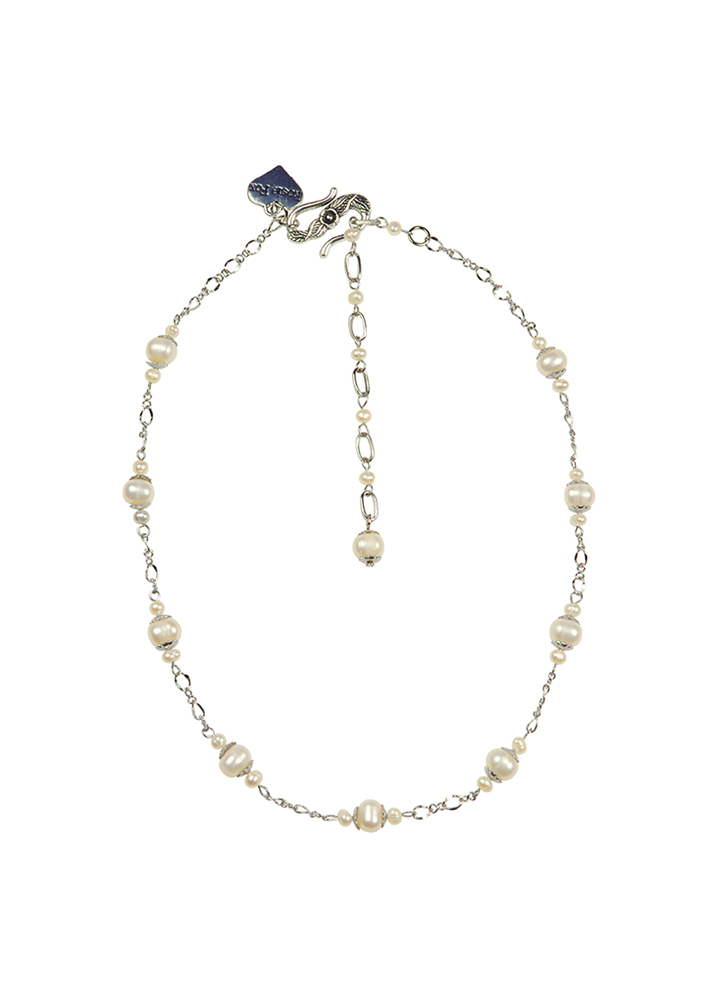 Ivory Pearl and Chain Necklace