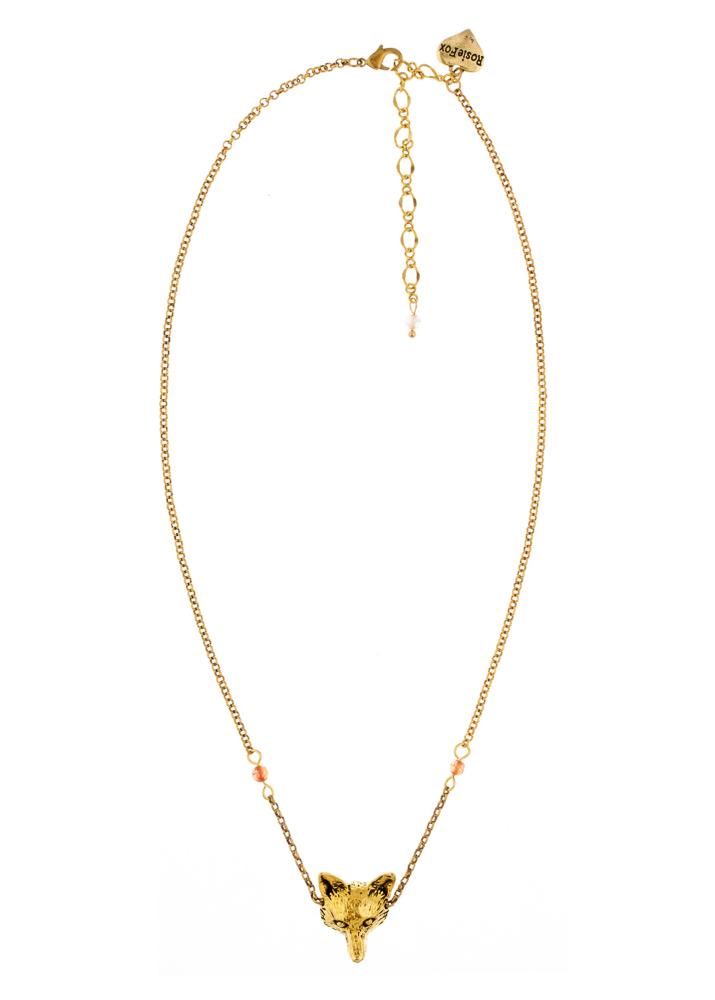 Ruby Rainbow Agate Fox Chain Necklace