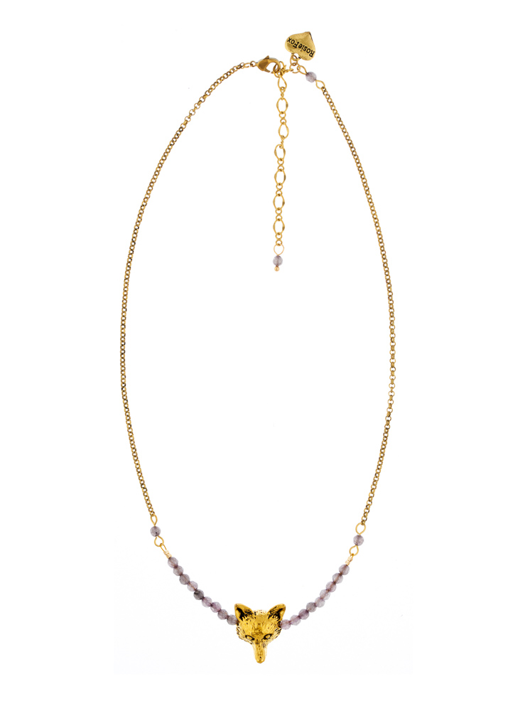 Dove Agate Fox Bar Necklace