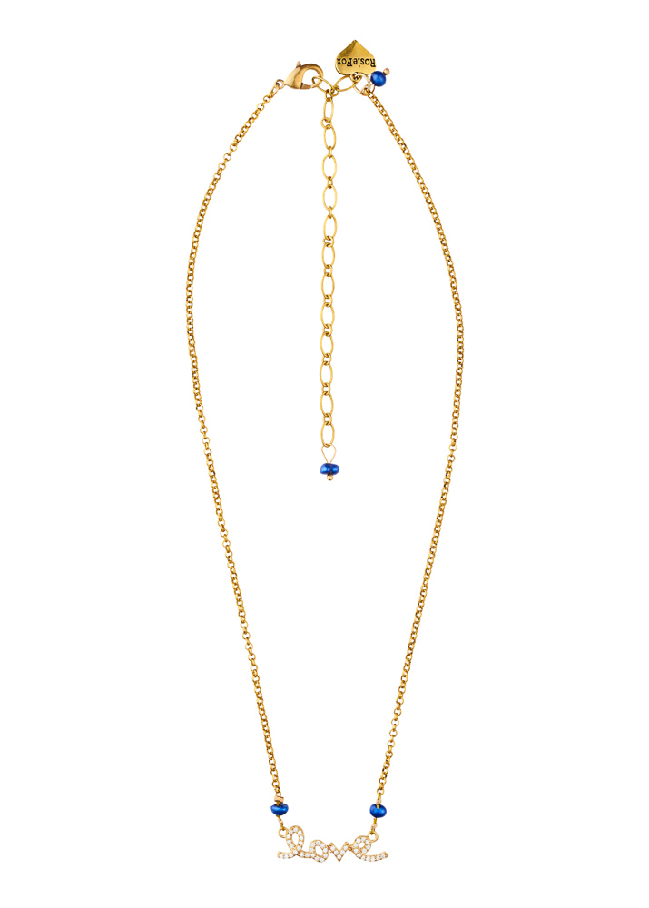 Cobalt Blue Pearl Love Chain Necklace