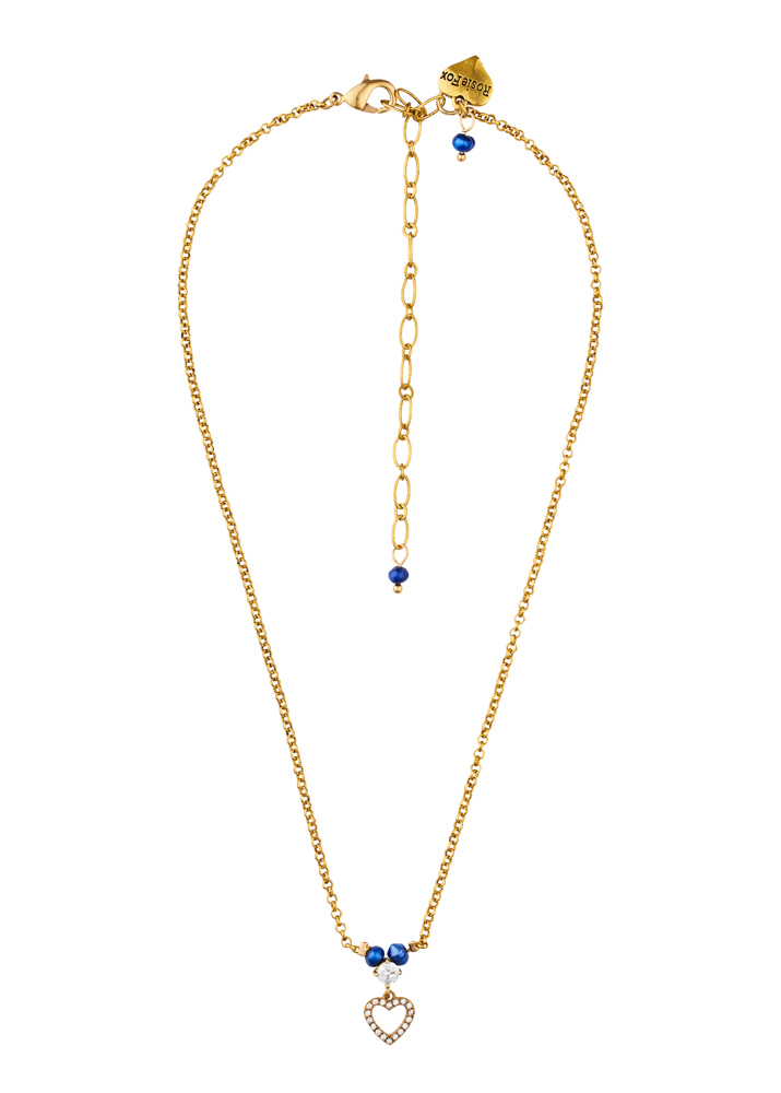 Cobalt Blue Freshwater Pearl Crystal Heart Chain Necklace