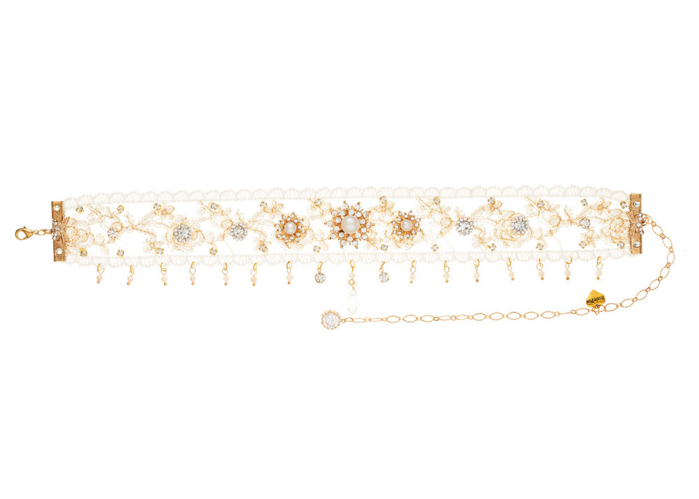 Gold Lace Pearl Choker Necklace