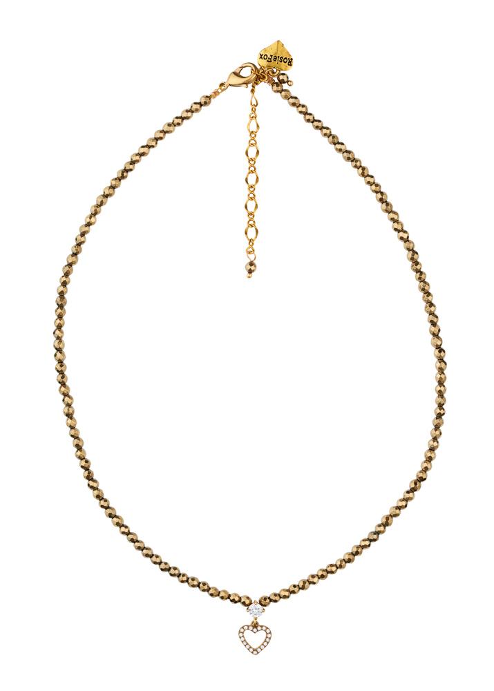 Pyrite Heart Gemstone Necklace