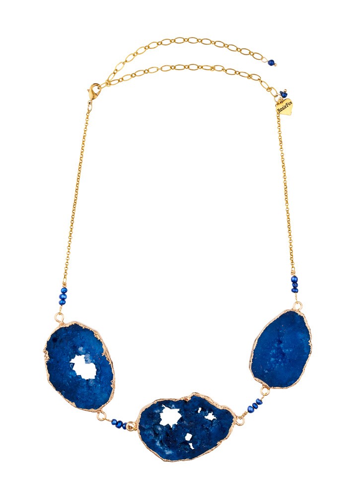 Cobalt Blue Freshwater Pearl & Agate Trine Necklace